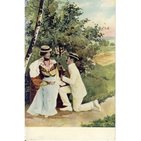MAN ON ONE KNEE COURTING WOMAN SITTING ON BENCH