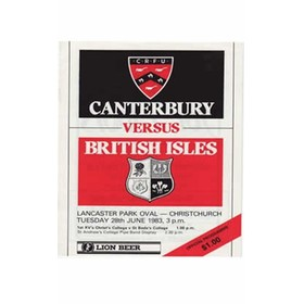 CANTERBURY V BRITISH ISLES 1983 RUGBY PROGRAMME