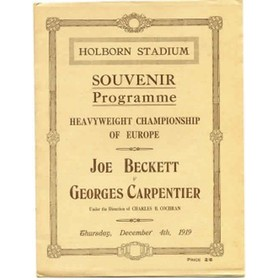 JOE BECKETT V GEORGES CARPENTIER 1919 (HEAVYWEIGHT CHAMPIONSHIP OF EUROPE) BOXING PROGRAMME