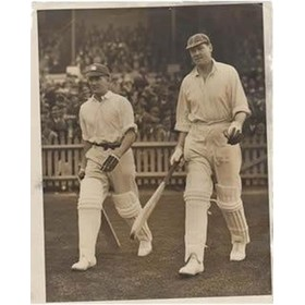 CHAPMAN & LARWOOD (ENGLAND) 1928 - GOING OUT TO BAT AT SYDNEY CRICKET PHOTOGRAPH
