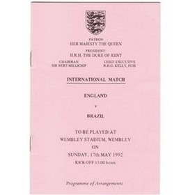 ENGLAND V BRAZIL 1992 (PROGRAMME OF EVENTS)