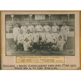 ENGLAND 1909 (V WALES) RUGBY PHOTOGRAPH (INC. 4 CORNISHMEN)