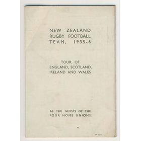 NEW ZEALAND TOUR OF UNITED KINGDOM 1935-36 FIXTURE CARD