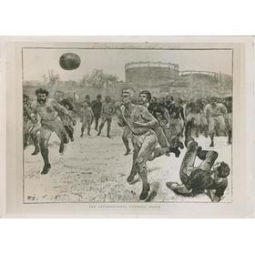 1934 PRESS PHOTO OF ENGLAND V SCOTLAND 1872 ENGRAVING