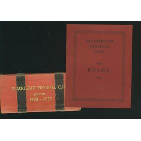 BLACKHEATH (RUGBY) FOOTBALL SEASON TICKET 1935-1936 & CLUB RULES BOOKLET