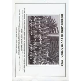 BRITISH LIONS IN SOUTH AFRICA 1962 MOUNTED PHOTOGRAPH
