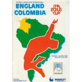 ENGLAND V COLOMBIA 1988 FOOTBALL PROGRAMME