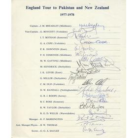 ENGLAND (TOUR TO PAKISTAN AND NEW ZEALAND) 1977-1978 SIGNED TEAM SHEET