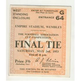 BLACKPOOL V BOLTON WANDERERS 1953 (F.A. CUP FINAL) FOOTBALL TICKET