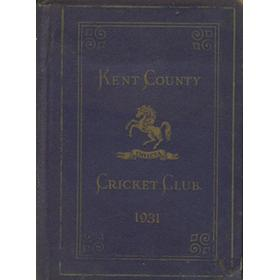 KENT COUNTY CRICKET CLUB 1931 [BLUE BOOK]