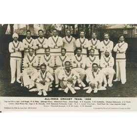 ALL-INDIA 1932 CRICKET POSTCARD