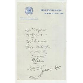 ALL INDIA CRICKET TEAM 1932 SIGNED SHEET