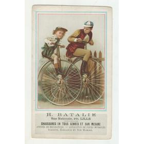 CYCLING ADVERTISING CARD (H. BATALIE, CHAUSSURES - LILLE) 1890S