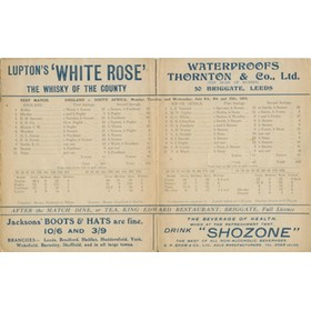 ENGLAND V SOUTH AFRICA 1912 (HEADINGLEY) CRICKET SCORECARD