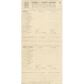 ESSEX V WEST INDIES 1950 CRICKET SCORECARD