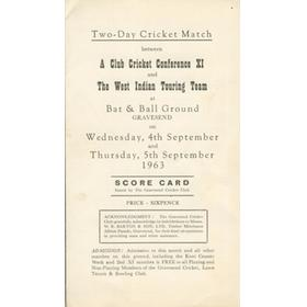 CLUB CRICKET CONFERENCE XI V WEST INDIES 1963 CRICKET SCORECARD