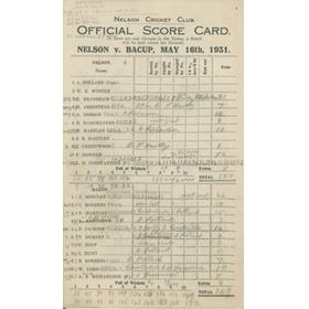 NELSON V BACUP 1931 CRICKET SCORECARD - LEARIE CONSTANTINE
