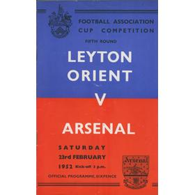 LEYTON ORIENT V ARSENAL 1952 FOOTBALL PROGRAMME (FA CUP 5TH ROUND)