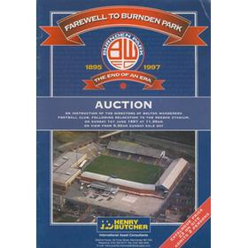 FAREWELL TO BURNDEN PARK - BOLTON WANDERERS AUCTION CATALOGUE 1997
