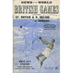 GREAT BRITAIN AND N. IRELAND V HUNGARY 1965 ATHLETICS PROGRAMME - SIGNED BY MARY RAND AND OTHERS