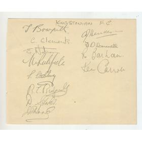 KINGSTONIAN FOOTBALL CLUB 1947 SIGNED ALBUM PAGE