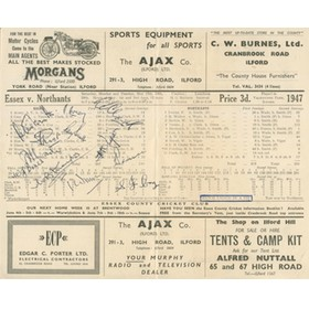 ESSEX V NORTHAMPTONSHIRE 1947 (TIED MATCH) CRICKET SCORECARD - SIGNED BY ESSEX TEAM