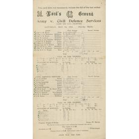 ARMY V CIVIL DEFENCE SERVICES 1944 CRICKET SCORECARD