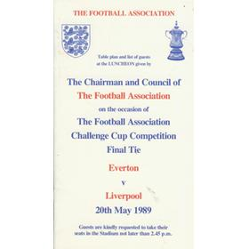 EVERTON V LIVERPOOL 1989 (F.A. CUP FINAL)  - OFFICIAL F.A. LUNCHEON MENU & GUEST LIST