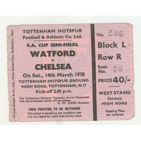 WATFORD V CHELSEA 1970 F.A. CUP SEMI-FINAL FOOTBALL TICKET