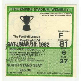 LIVERPOOL V TOTTENHAM HOTSPUR 1982 LEAGUE. CUP FINAL FOOTBALL TICKET