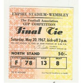 TOTTENHAM HOTSPUR V CHELSEA 1967 F.A. CUP FINAL FOOTBALL TICKET