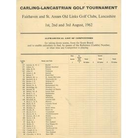 CARLING-LANCASTRIAN GOLF TOURNAMENT 1962 - COMPETITORS LIST