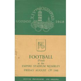 SWEDEN V YUGOSLAVIA 1948 - LONDON OLYMPICS FOOTBALL FINAL OFFICIAL PROGRAMME