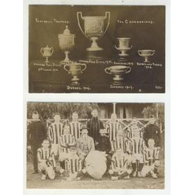 THE CAMERONIANS FOOTBALL TROPHIES 1906-10 POSTCARD - INCLUDING DURAND CUP, INDIA