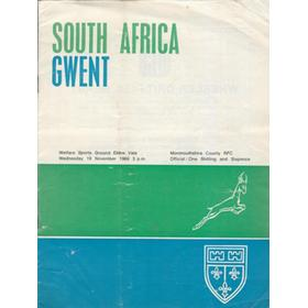 GWENT V SOUTH AFRICA 1969/70 RUGBY PROGRAMME