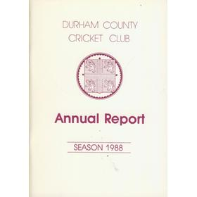DURHAM COUNTY CRICKET CLUB ANNUAL REPORT 1988