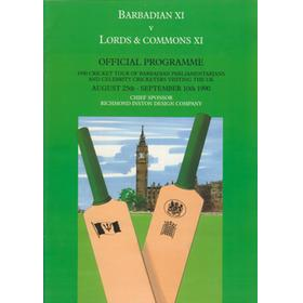 BARBADIAN XI V LORDS AND COMMONS XI 1990 CRICKET PROGRAMME