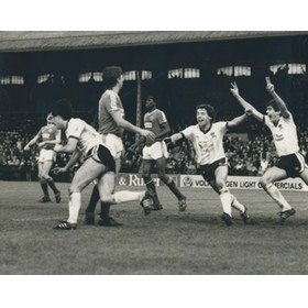 FULHAM  V BRIGHTON 1985 (WILSON CELEBRATES) FOOTBALL PRESS PHOTOGRAPH
