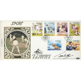 GUERNSEY FIRST DAY COVER 1986 (COMMONWEALTH GAMES) - SIGNED BY JOHN ARLOTT