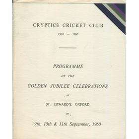 CRYPTICS CRICKET CLUB 1960 - GOLDEN JUBILEE CELEBRATIONS PROGRAMME