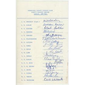 MIDDLESEX COUNTY CRICKET CLUB 1975 AUTOGRAPH SHEET