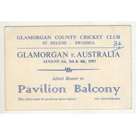 GLAMORGAN V AUSTRALIA 1953 CRICKET TICKET
