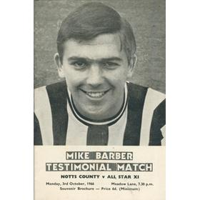 NOTTS COUNTY V ALL STAR XI 1966 - MIKE BARBER TESTIMONIAL