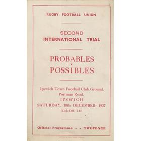 ENGLAND RUGBY  INTERNATIONAL TRIAL MATCH 1937 (PORTMAN ROAD) PROGRAMME