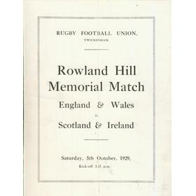 ROWLAND HILL MEMORIAL MATCH 1929 RUGBY PROGRAMME
