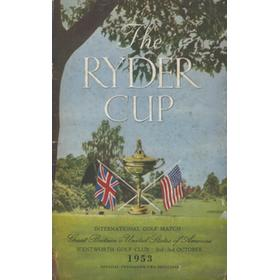 RYDER CUP 1953 (WENTWORTH) OFFICIAL GOLF PROGRAMME