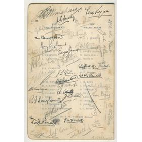 ENGLAND V WALES 1935 SIGNED DINNER MENU
