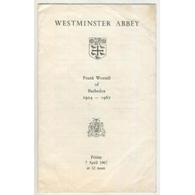 FRANK WORRELL SERVICE OF THANKSGIVING 1967 (WESTMINSTER ABBEY)