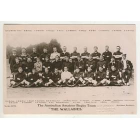 "AUSTRALIA RUGBY UNION TEAM 1908 ""WALLABIES"" POSTCARD"