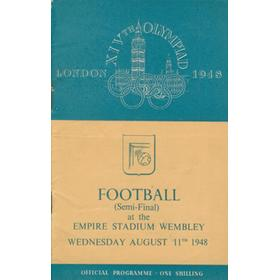 GREAT BRITAIN V YUGOSLAVIA (OLYMPIC FOOTBALL SEMI-FINAL) 1948 PROGRAMME